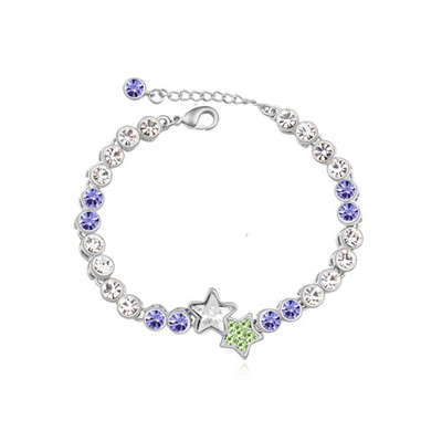 Jogging pinkish purple star decorated simple design alloy Crystal Bracelets