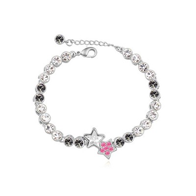Hanging black star decorated simple design alloy Crystal Bracelets
