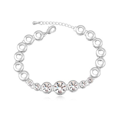 Elastic white CZ diamond decorated round shape design alloy Crystal Bracelets