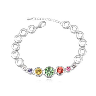Infinity multicolor CZ diamond decorated round shape design alloy Crystal Bracelets
