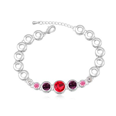 Fantasy light red & purple CZ diamond decorated round shape design alloy Crystal Bracelets