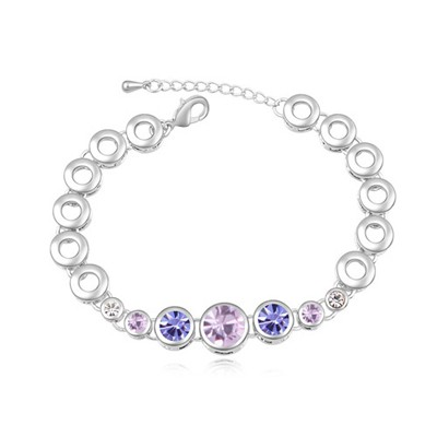 Puritan light purple & pinkish purple CZ diamond decorated round shape design alloy Crystal Bracelets