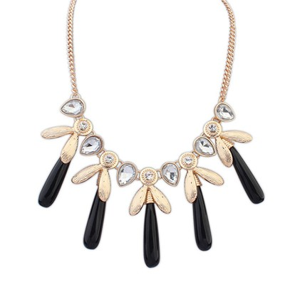 Elastic black CZ diamond decorated tassel design alloy Bib Necklaces