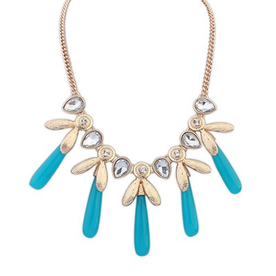 Native blue CZ diamond decorated tassel design alloy Bib Necklaces