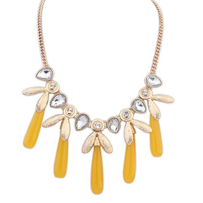 Heather yellow CZ diamond decorated tassel design alloy Bib Necklaces