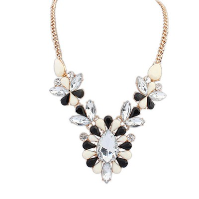 Skate black & white gemstone decorated flower design alloy Bib Necklaces