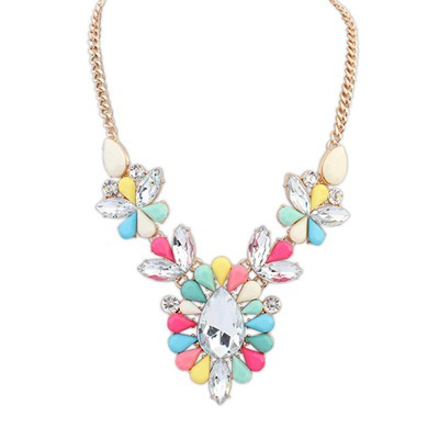 Decorative multicolor gemstone decorated flower design alloy Bib Necklaces
