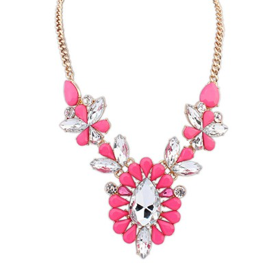 Cargo plum red gemstone decorated flower design alloy Bib Necklaces