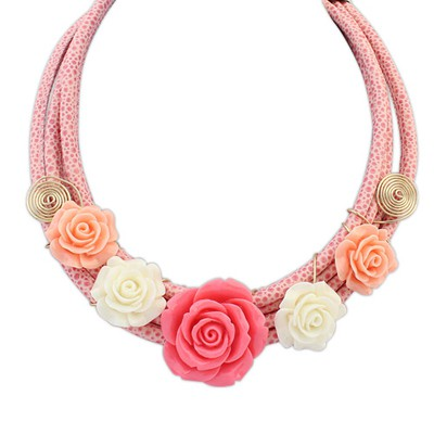 Mysterious pink flower decorated multi-level design alloy Bib Necklaces
