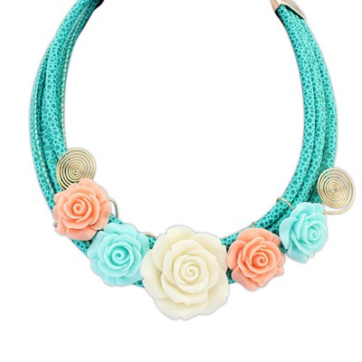 Security green flower decorated multi-level design alloy Bib Necklaces