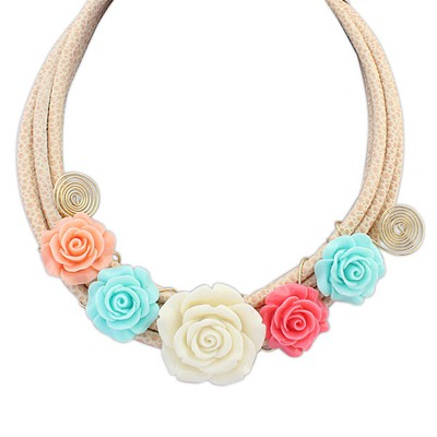 Splendid beige flower decorated multi-level design alloy Bib Necklaces