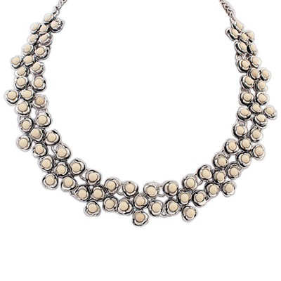 Fashion beige gemstone decorated flower design alloy Bib Necklaces