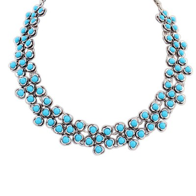 Synthetic blue gemstone decorated flower design alloy Bib Necklaces