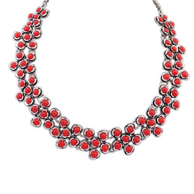Standard red gemstone decorated flower design alloy Bib Necklaces