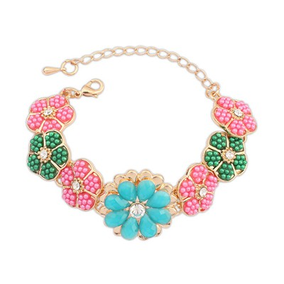 Acrylic multicolor gemstone decorated flower design alloy Korean Fashion Bracelet