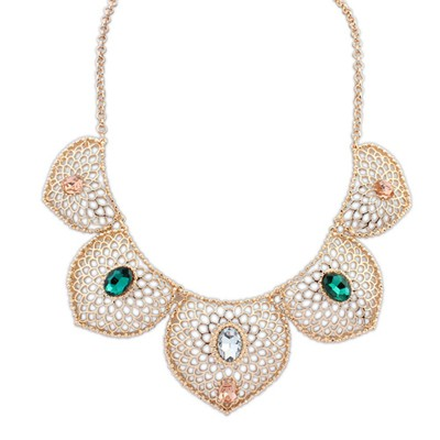 Trendy multicolor gemstone decorated hollow design alloy Bib Necklaces