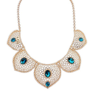 Posh navy blue gemstone decorated hollow design alloy Bib Necklaces
