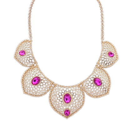 Collar plum red gemstone decorated hollow design alloy Bib Necklaces