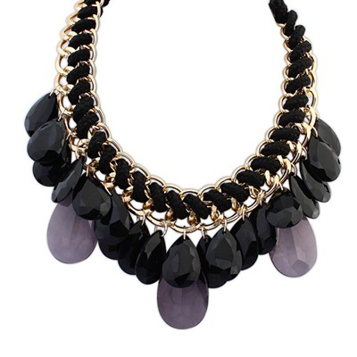 Hanging black waterdrop decorated weave design resin Bib Necklaces