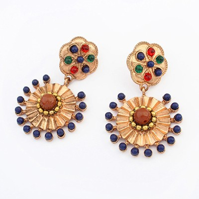 Little multicolor gemstone decorated flower design alloy Korean Earrings