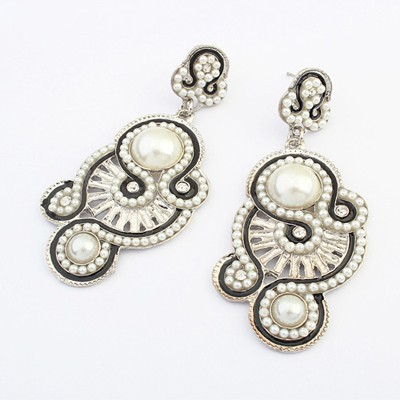Bohemian white pearl decorated irregular shape design alloy Korean Earrings