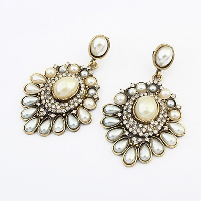 Turquoise Gray pearl decorated flower design alloy Korean Earrings