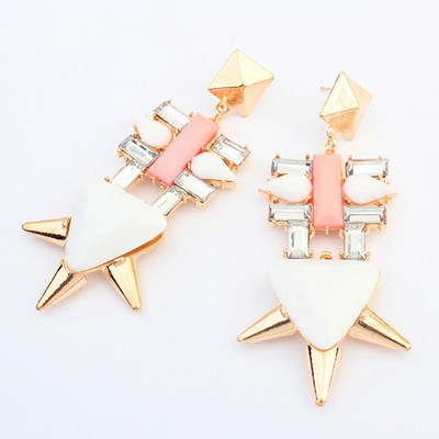 Gorgeous white irregular geometry simple design alloy Korean Earrings