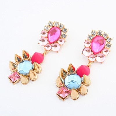 Scrapbooki multicolor rivet decorated flower design alloy Korean Earrings
