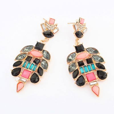 Summer multicolor gemstone decorated simple design alloy Korean Earrings