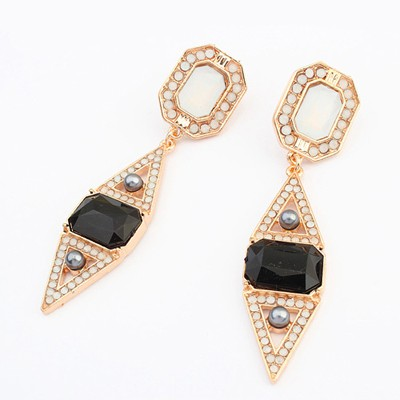 Propper black gemstone decorated rhombus design alloy Korean Earrings