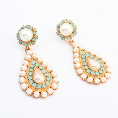 Memorable light green pearl decorated waterdrop design alloy Korean Earrings
