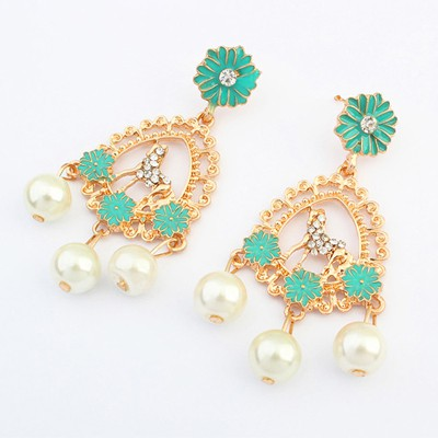Down green pearl decorated flower design alloy Korean Earrings