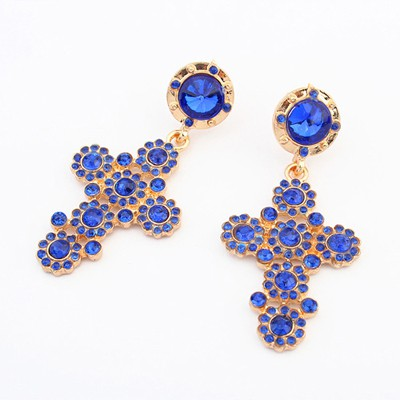 Sample blue gemstone decorated cross design alloy Korean Earrings