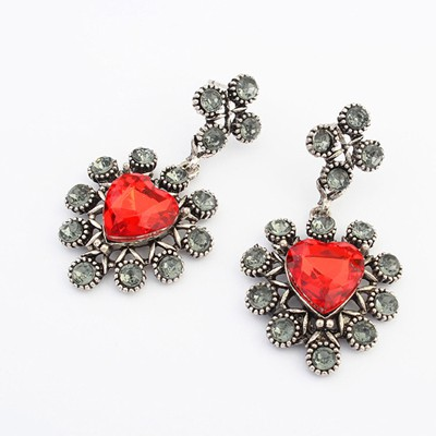 Stylish clratet-red CZ diamond decorated heart shape design alloy Korean Earrings
