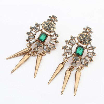 Engraved green rivet decorated simple design alloy Korean Earrings