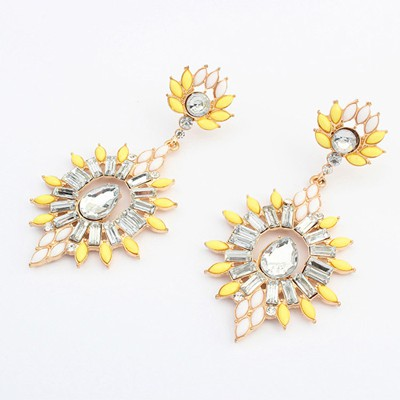 Platinum yellow gemstone decorated flower design alloy Korean Earrings