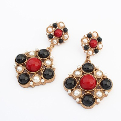 Order red & black gemstone decorated flower design alloy Korean Earrings