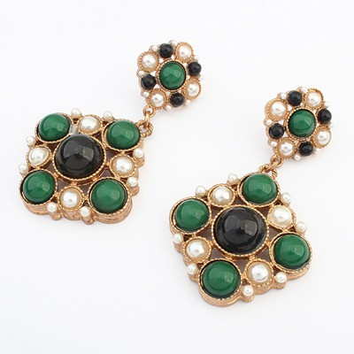 Aluminium green & black gemstone decorated flower design alloy Korean Earrings