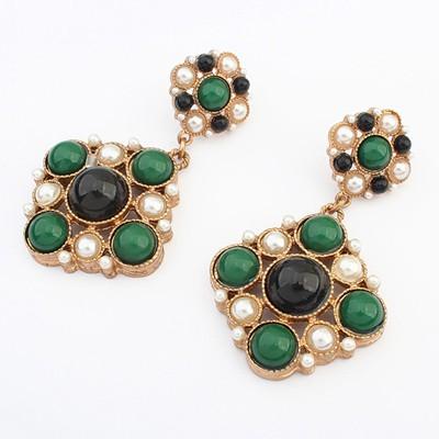 Aluminium green & black gemstone decorated flower design alloy Korean Earrings