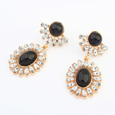 Sweet black gemstone decorated flower design alloy Korean Earrings