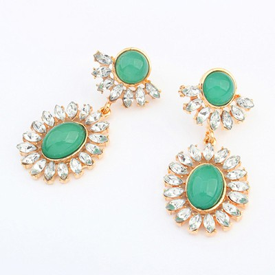 Chunky green gemstone decorated flower design alloy Korean Earrings
