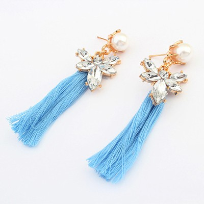 Security blue pearl decorated tassel design alloy Korean Earrings