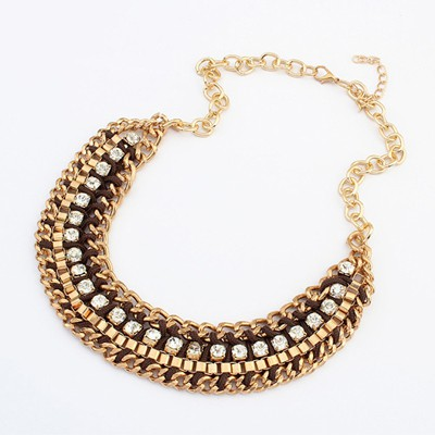 Classic brown CZ diamond decorated weave design alloy Bib Necklaces