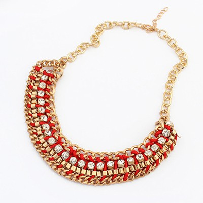 Christmas red CZ diamond decorated weave design alloy Bib Necklaces