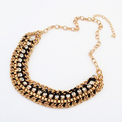 Circle black CZ diamond decorated weave design alloy Bib Necklaces