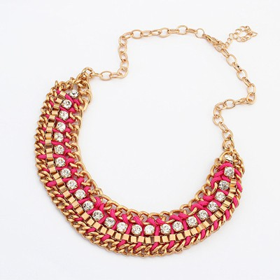 Corduroy plum red CZ diamond decorated weave design alloy Bib Necklaces