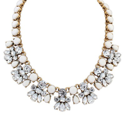 Formal white CZ diamond decorated bee shape design alloy Bib Necklaces