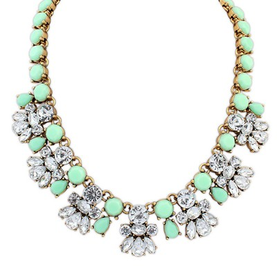 Stretch green CZ diamond decorated bee shape design alloy Bib Necklaces