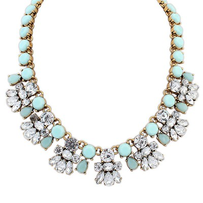 Designs light blue CZ diamond decorated bee shape design alloy Bib Necklaces