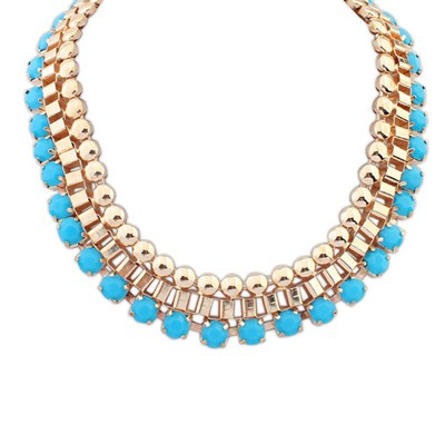 Gorgeous blue gemstone decorated Multi-level design alloy Bib Necklaces